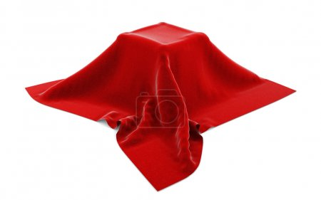 Box hidden under red velvet cloth isolated on whit...