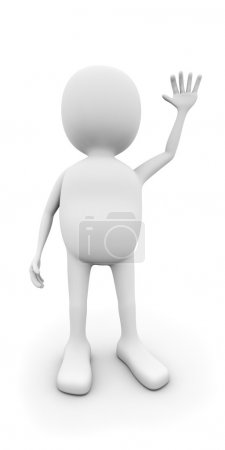 3D white man waving with the hand isolated on white background.