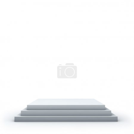 Photo for 3 steps empty square podium on white background. - Royalty Free Image