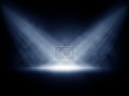 Stage lights with smoky effect background.