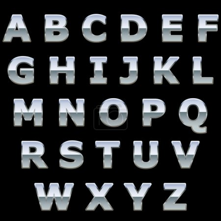 Chrome metal shiny letters
