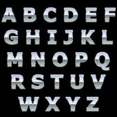 Chrome metal shiny letters isolated on black background