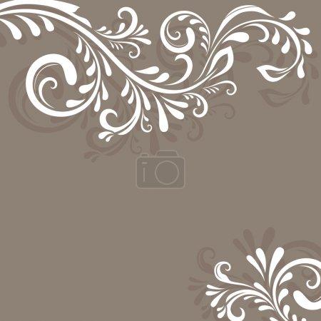 Illustration pour Fond vectoriel beige avec ornement floral et espace de copie . - image libre de droit