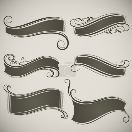 Illustration for Abstract vintage banner shapes vector template. - Royalty Free Image