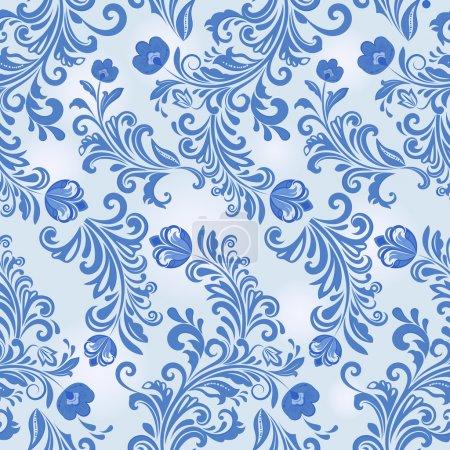 Hiver sans couture motif de papier peint vecteur fleur bleue .