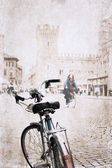image in grunge style, bicycle