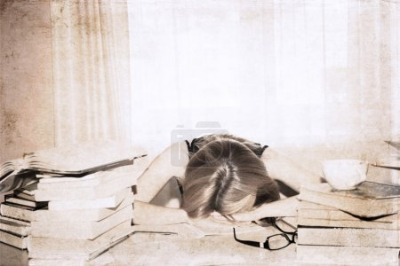 Photo for Artwork in retro style, girl in the library, sleeping - Royalty Free Image