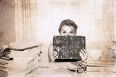 Artwork in retro style, girl, preparation for exams