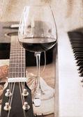 artwork in retro style, music and wine