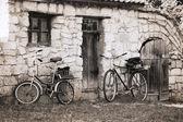 Artwork in vintage style, bicycles