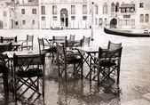 artwork in vintage style, Venice's restaurant, outdoor
