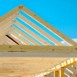 Rafters of the roof frame of a house under constru...