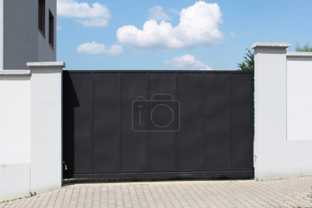 Photo for Modern black gate and sky in the background - Royalty Free Image