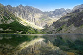 View of beautiful Black Pond Gasienicowy in Tatra Mountains, Pol