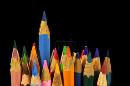 Colorful pencils- concept of stand out from the crowd