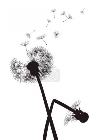 Black dandelions on white background- one with broken stalk