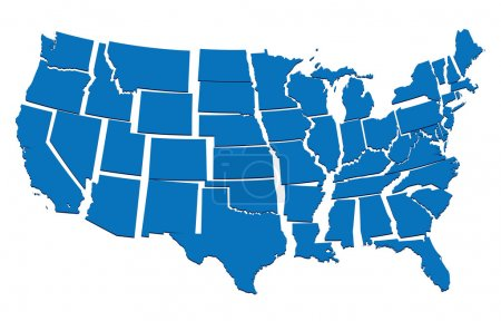 Blue map of USA- concept of disintegration, secession of United States