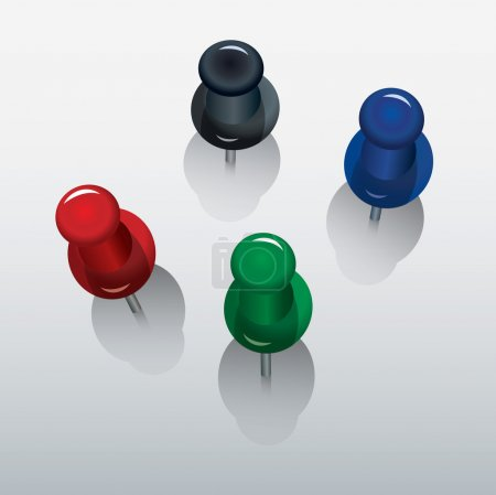 Four colorful push pin with shadows