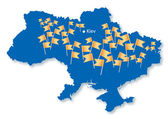 Blue map of Ukraine with many orange flags
