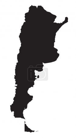 Black and white map of Argentina
