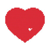 Red heart made of pixels with a few missing