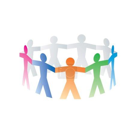 cercle de personnes de papier coloré sur fond blanc