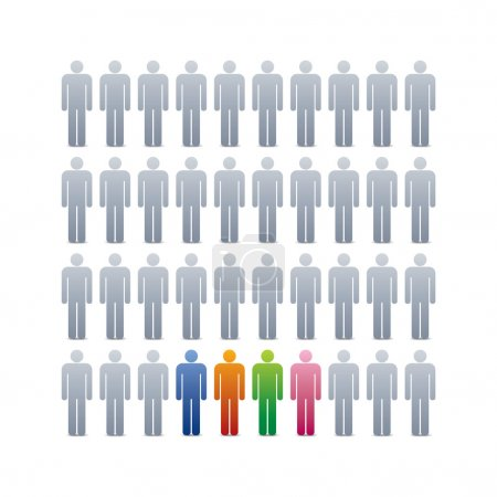 Illustration of people icons, concept of stand out from crowd