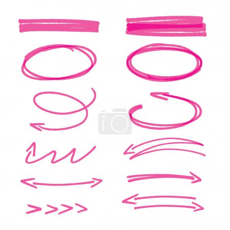 Set of pink hand drawn arrows signs and highlighting elements