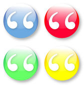 A quote mark symbol Times New Roman glassy blue red yellow and green buttons isolated over white background