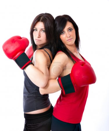 Sexy women ready for a boxing match