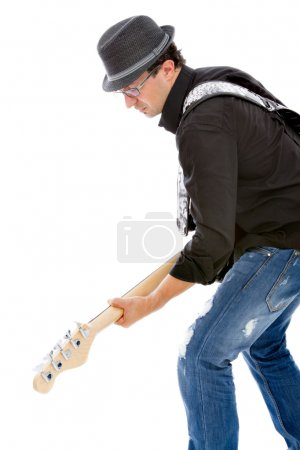 Bassist playing instrument