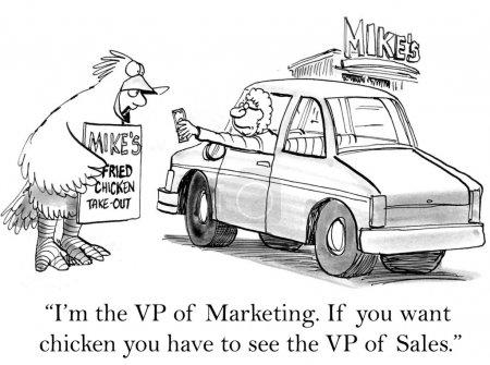 """Photo pour """"Je suis le vice-président du marketing. Si vous voulez du poulet, vous devez voir le vice-président des ventes ."""" - image libre de droit"""