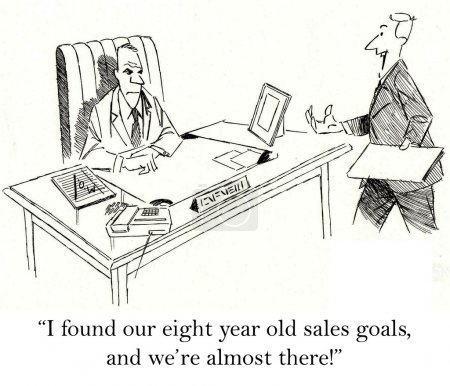 """Photo for """"I found our eight year old sales goals, and we're almost there."""" - Royalty Free Image"""