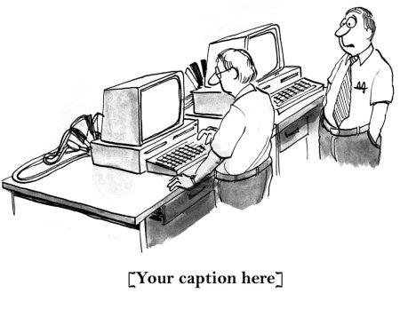 """Photo pour """"J'espère que les câbles de cavalier fonctionnent. Je dois la démarrer et finir mon rapport.."""" - image libre de droit"""