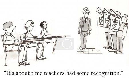 Teacher walks into classroom with trumpet salute