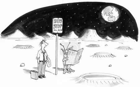 Photo pour Arrêt de bus pour les navetteurs sur Mars pour l'exécutif . - image libre de droit
