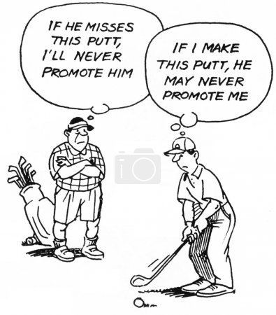 The boss thinks the worker should miss the putt