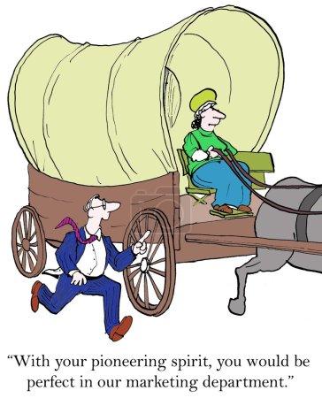 Illustration de dessin animé. Un homme d'affaires veut engager une pionnière.