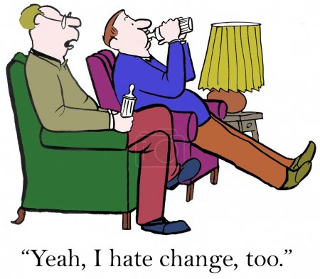 Cartoon illustration. Two men with baby bottles hate change