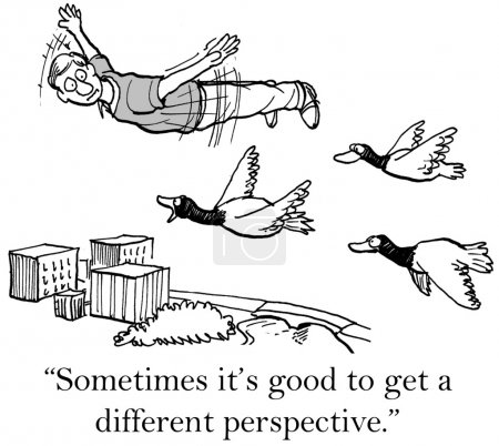 Cartoon illustration. Wild geese leader tells man to talk less