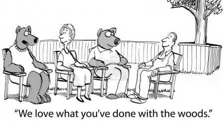 Cartoon illustration. Bears visit a new area