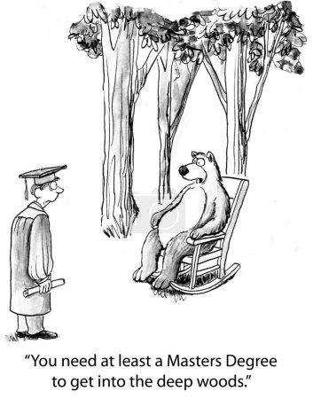 Cartoon illustration. Graduate needs masters degree to enter woods