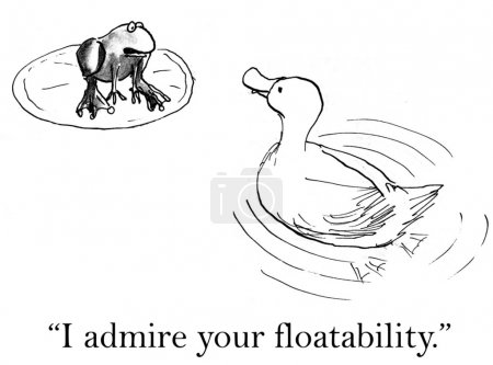 Cartoon illustration. Duck and frog talking on the lake
