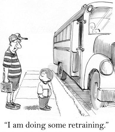 Cartoon illustration. Father escorted the boy to school