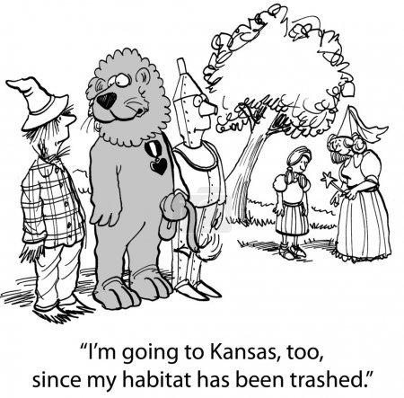 Cartoon illustration. Lion might as well go to Kansas