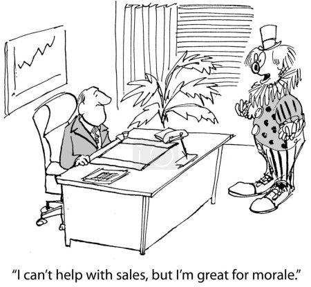 Cartoon illustration. Morale clown