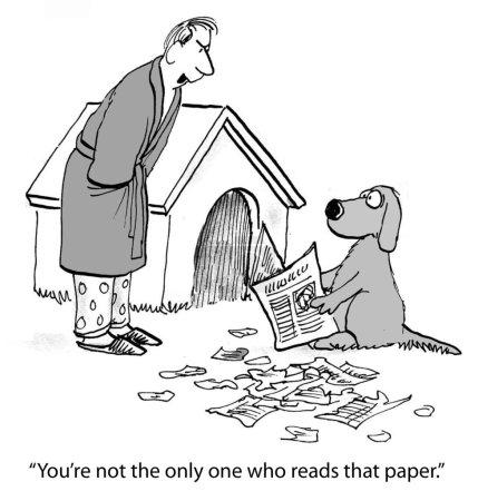 Cartoon illustration. Dog is hogging the paper