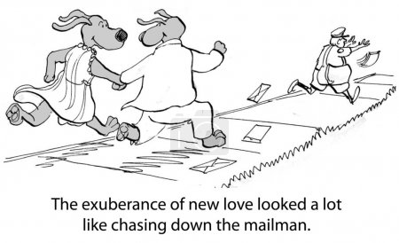 Cartoon illustration. Nothing mattered but catching the mailman