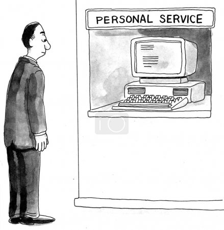 Cartoon illustration. Customer was hoping for personal service
