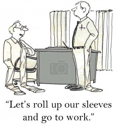 Photo pour Bande dessinée, illustrations et travailleurs de bureau avec des manches tendues - image libre de droit